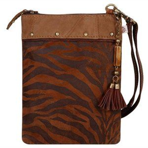 Upcycled Genuine Leather Tiger Print Crossbody Bag
